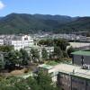 14.現在の甲府キャンパス 武田通りを背に北東をのぞむ。(左手はA号館、手前はB号館)